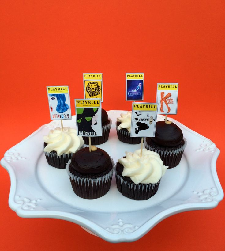 Tony Awards or Broadway Party Playbill Cupcake by jacolynmurphy