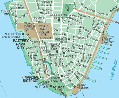 Battery Park New York Map   Battery Park and the Financial District Map (click on the map for an ...