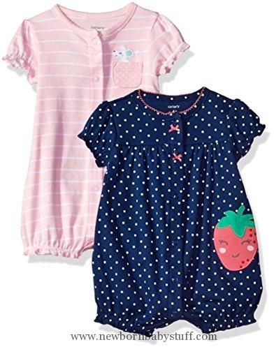 Baby Girl Clothes Carter's Baby Girls' 2-Pack Snap up Romper, Mouse/Strawberry, 18 Months
