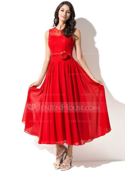 A-Line/Princess Tea-Length Chiffon Charmeuse Lace Homecoming Dress With Beading Flower(s) (007051487)