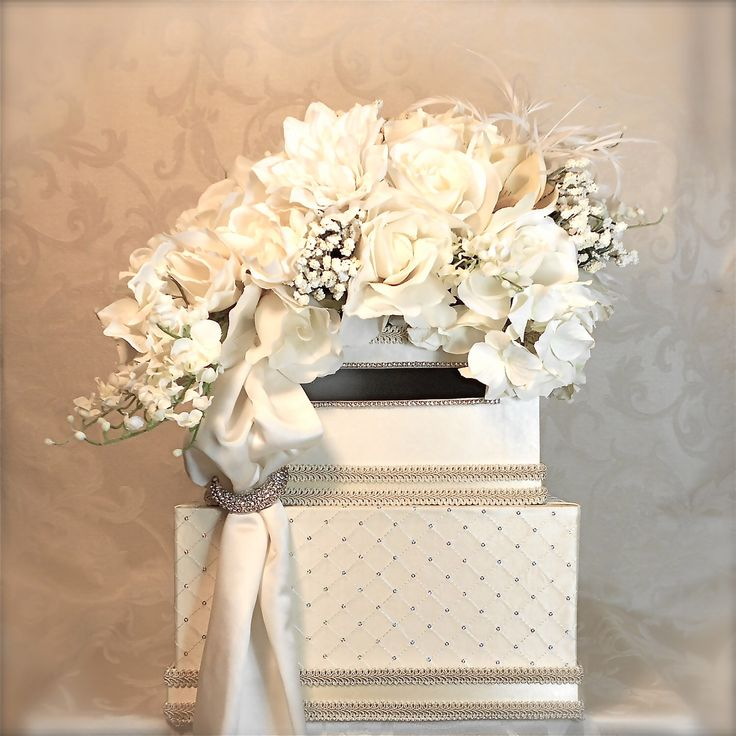 wedding gift card holders%0A Vintage Wedding Card Box White  u     Ivory Lace  Neutral Flowers  Pearls Single  Tier  Wedding Card Holder  Wedding Money Box   Cool stuff to buy    Pinterest