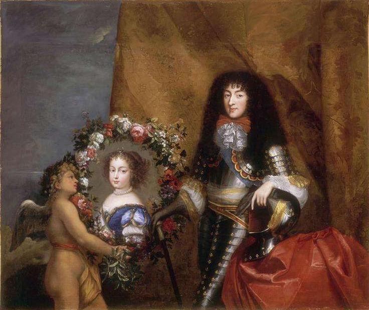 Philippe, Duc d'Orleans with a portrait of his wife, Henrietta Anne Stuart.
