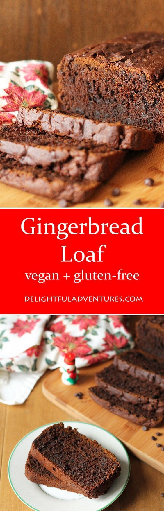 This Vegan Gluten Free Gingerbread Loaf is perfectly spiced & will become a fave during the holidays. A great recipe to make and give (or enjoy yourself!).: