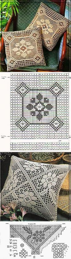 Ажурные подушки. Филейное вязание | Уют и тепло моего дома