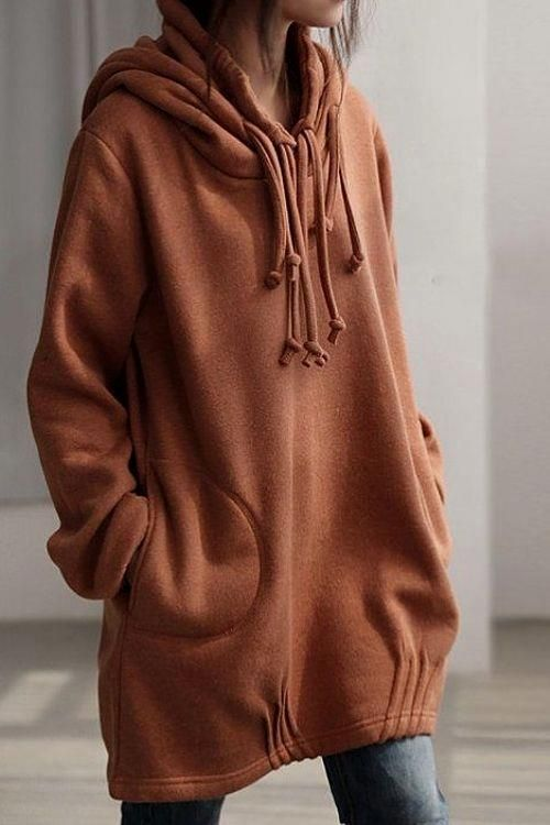 Solid Color Long Sle  Solid Color Long Sleeve Loose Pullover Hoodie