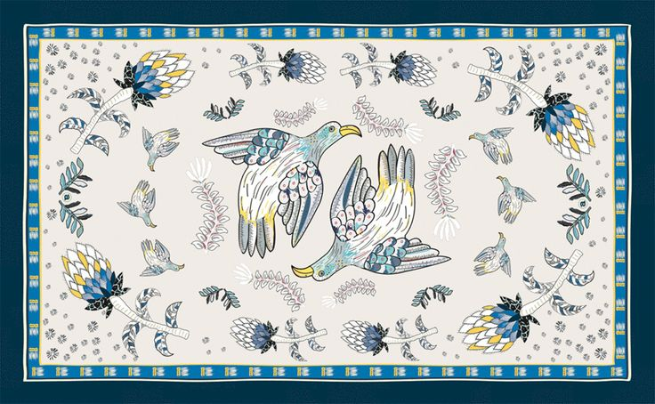 Ardmore Bird Fynbos Tablecloth Tanzanite