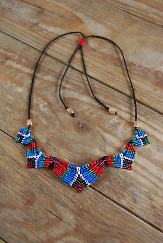 Colorful Macrame Necklace Summer Womens Jewelry by MitosKnitwear