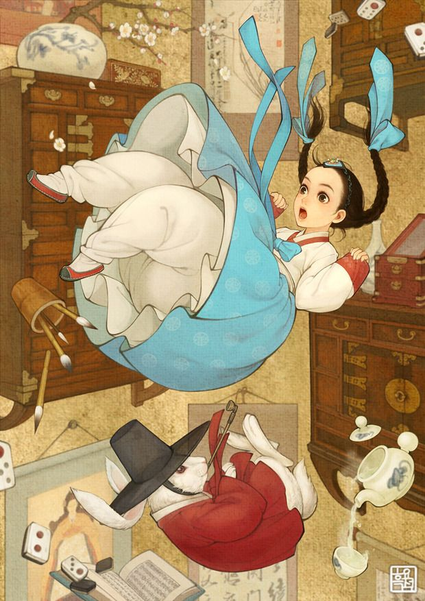 Alice in Wonderland Picture (Alice portrayed in Korean traditional clothing) Artist: Wooh NaYoung