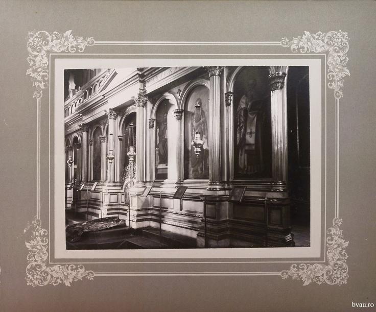 """Biserica Greacă - imagine din interior, Galati, Romania, anul 1906, http://stone.bvau.ro:8282/greenstone/collect/fotograf/index/assoc/J010.dir/Pag10.jpg.  Imagine din colecţiile Bibliotecii Judeţene """"V.A. Urechia"""" Galaţi."""