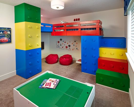 Wonderful Kids Room With Lego Storage Cube: Contemporary Lego Kids Room With Storage Space With Red Pouffe1 ~ moabc.net Bedroom Inspiration