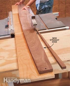 Here's a trick for straightening crooked boards: Rip a 6-in. wide strip from the straight factory edge of a sheet of plywood. Use screws or finish nails to temporarily attach the crooked board to the plywood strip. Keep the fasteners away from the edge where they might come in contact with the saw blade.