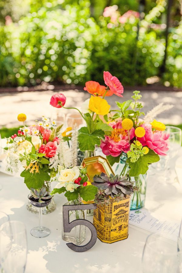 eco friendly centerpieces with vintage pieces photo by