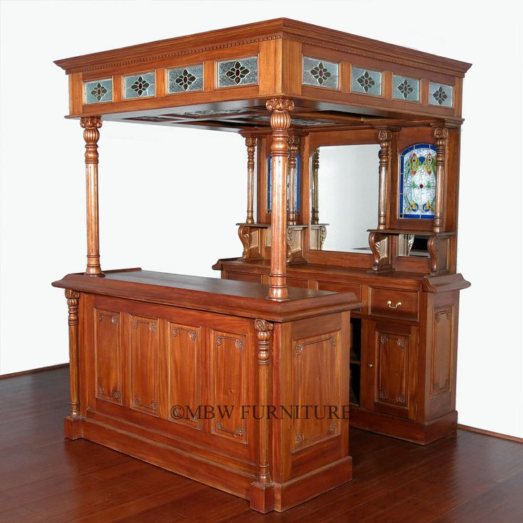 Mahogany Classical English Canopy Home Pub Wine Liquor Bar W/ Stained Glass