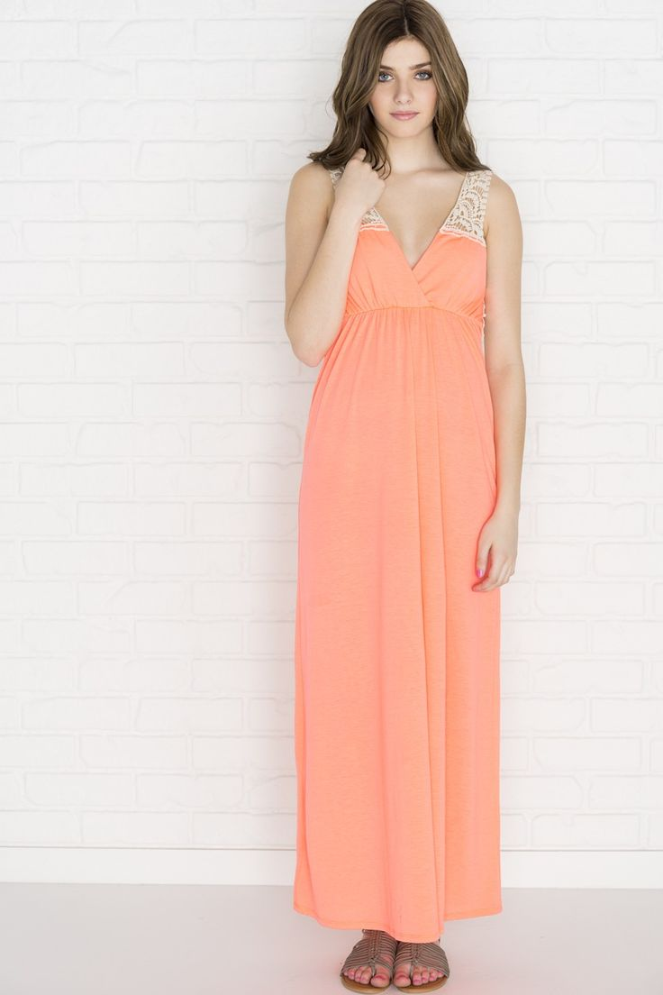 Neon coral maxi dress with crochet back - Dresses - Clothing