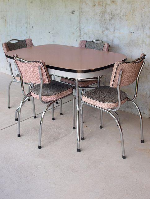 Pink / chrome retro kitchen table & chairs. #vintage #midcentury #kitsch    ****love it****