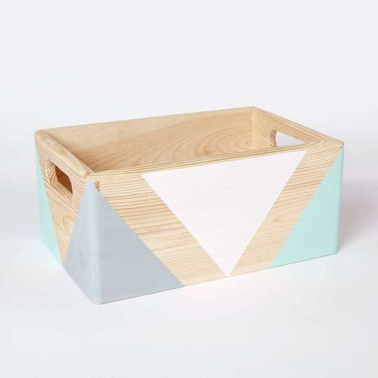 Hand painted wooden storage box with handles. Each box has been carefully hand painted. Bold geometric shapes have been created by using non toxic, water based paint and sealed with non toxic varnish to protect patterns from scratches (only patterns are varnished, the rest of the box is unfinished wood). Choose your own colour scheme, please specify 3 colours you would like your box to have. Please refer to the colour chart in the photo section. Colours available: Black, White, Light grey…
