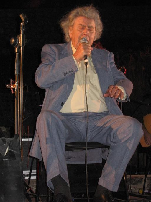 Great Musician/Composer Mikis Theodorakis photo taken by me during a concert in the Island of Chios Greece.