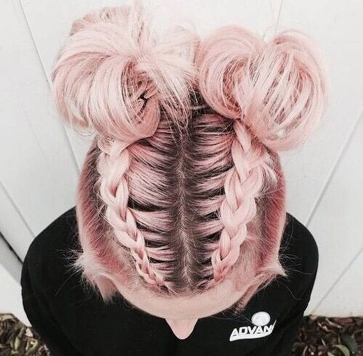 � � � Double Mohawk braid into high Space buns half-updo for medium to long hair  |