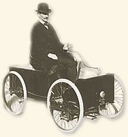 Henry Ford and his first car  the Quadricycle, which he  built in 1896