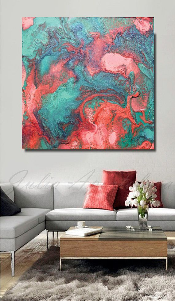 living room art prints%0A Turquoise and Coral Abstract Print Large Wall Art