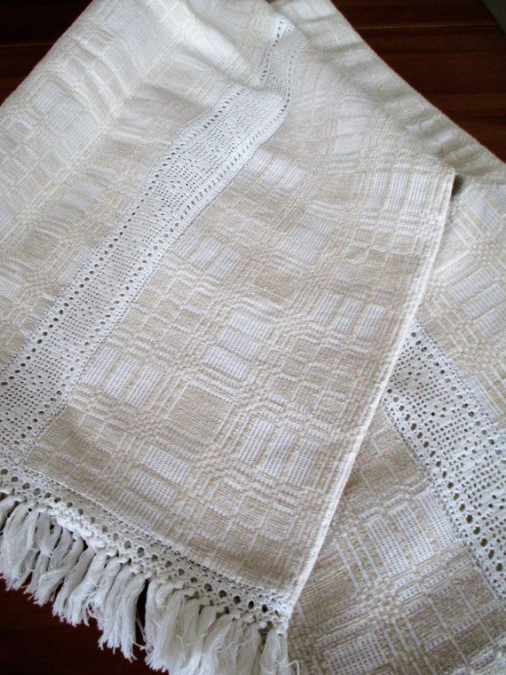 203. Vintage flax linen tablecloth pure flax linen