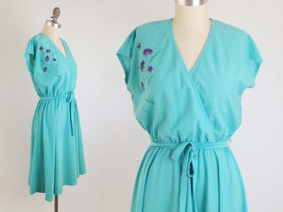 Vintage 70s Wildflower Wrap Dress - Cap Sleeve Aqua Blue Dress by Lola's Closet Petite Ms - Bohemian Festival Dress - Size Large to Medium