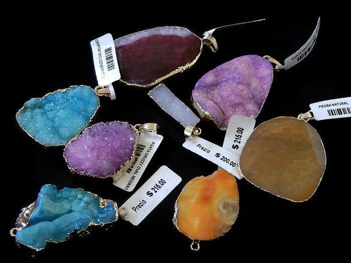 Dije de piedra Agata natural y Druzy con contorno de chapa a granel, Promoción único precio 2 piezas x $149 hasta agotar existencias