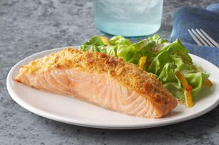 Parmesan Baked Salmon Recipe - Kraft Recipes Mayo, Parmesan and a RITZ