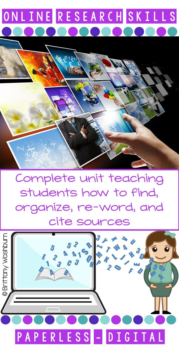 Research Skills are critical for today's students. This complete 7 lesson unit will teach your upper elementary or middle school students everything they need to be successful online researchers. All about Online Search Copyright and Fair Use Evaluate a W