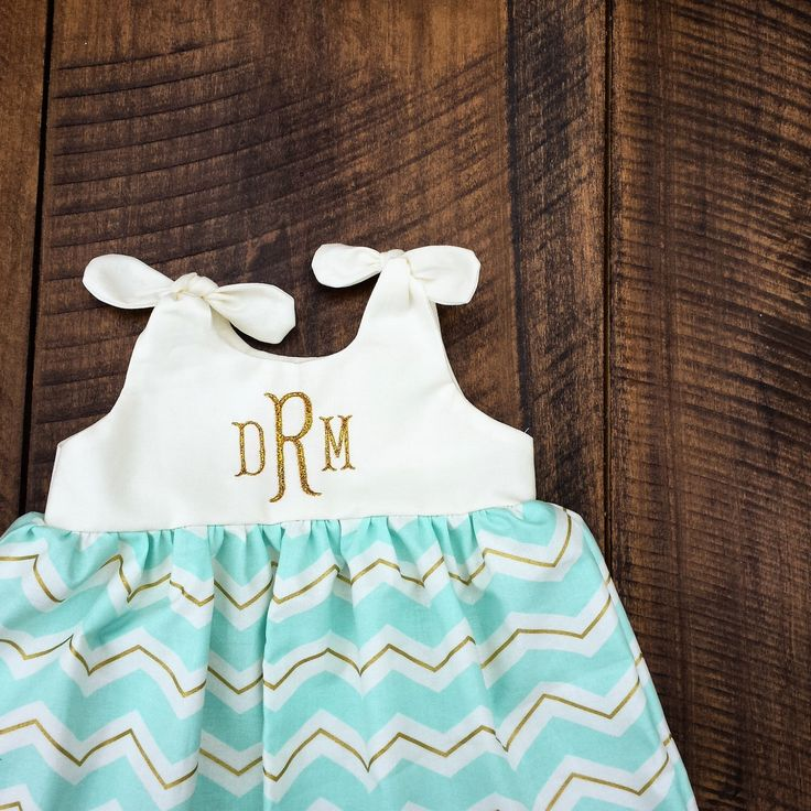 Blue Chevron, Gold Chevron Monogrammed dress newborn 0-3, 3-6, 6-12, 12-18, 18-24 birthday outfit, Aqua and Gold Chevron knot dress, easter by ShelbyJaneandCo on Etsy https://www.etsy.com/listing/216469360/blue-chevron-gold-chevron-monogrammed