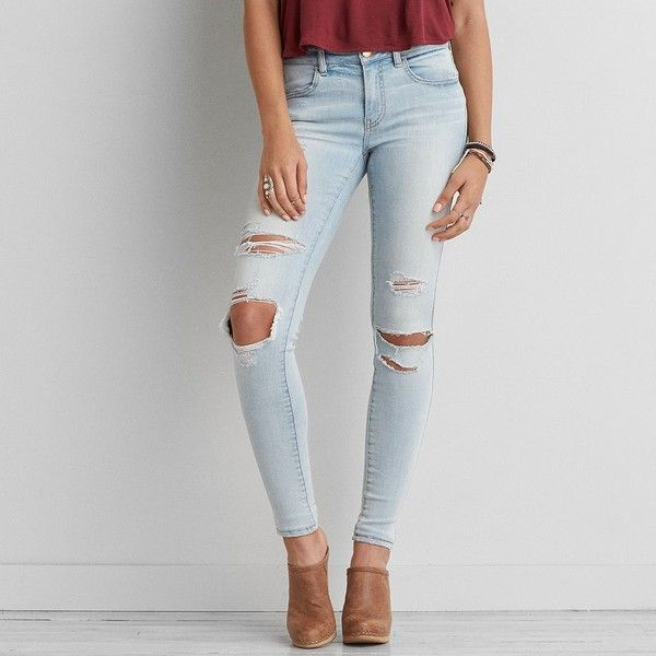 AEO Denim X Cafe Jegging (Jeans) ($50) ❤ liked on Polyvore featuring jeans, creme blue, american eagle outfitters jeggings, american eagle outfitters, blue jeggings, long jeans and blue jeans