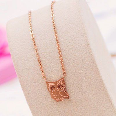 Cute Owl Animal 18K Gold Plated Necklace