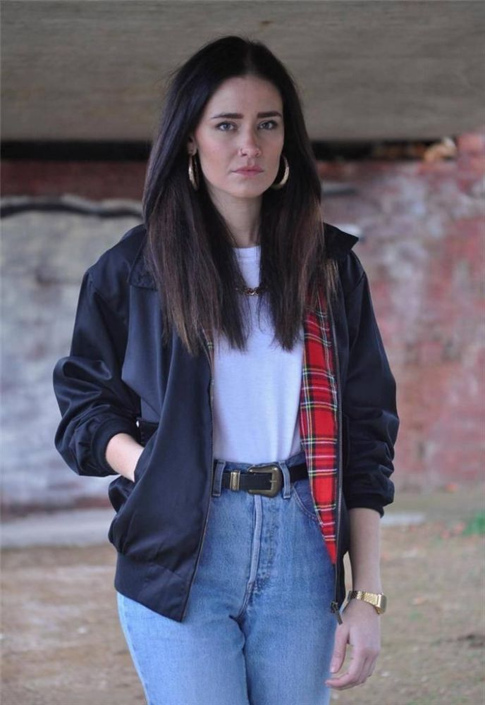 Womens black and tartan bomber jacket