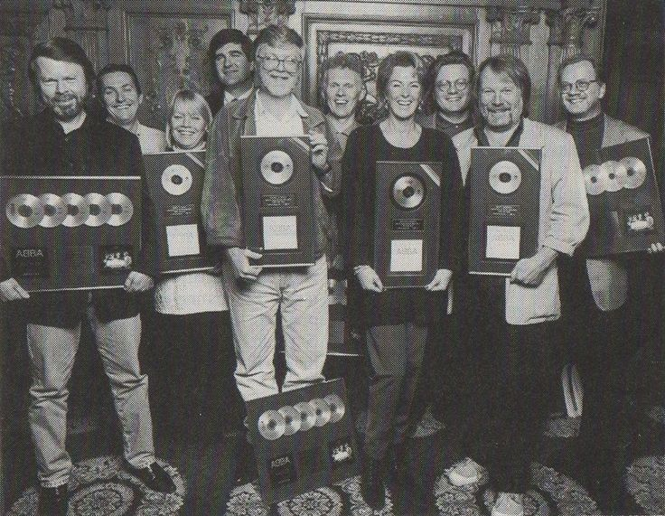 Björn Ulvaeus, Frida Lyngstad & Benny Andersson of ABBA in October 1993. This rare photo was taken at the gold disk presentation for 'ABBA Gold' and 'More ABBA Gold'.  With sales in excess of 28 million copies, 'ABBA Gold: Greatest Hits' is the...
