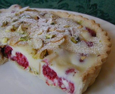 White Chocolate-Raspberry Tart, With Almonds and Pistachios