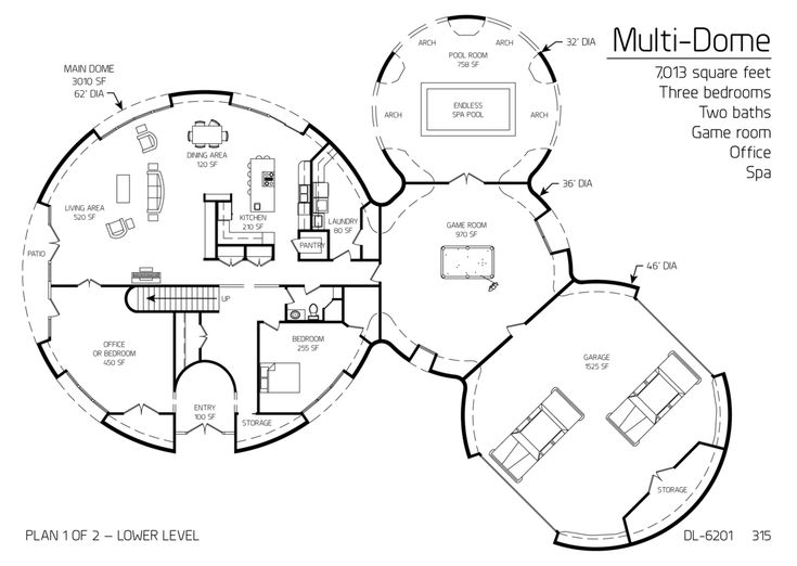 Multi Dome 7013sqft 3bd 2ba Game Room, Office, Spa