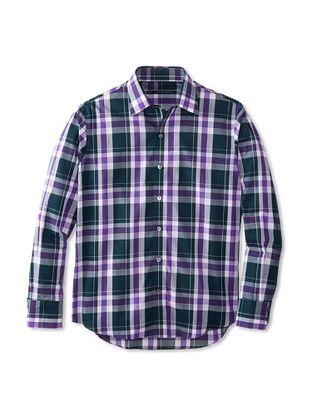 75% OFF Zachary Prell Men's Samuelson Checked Long Sleeve Shirt (Purple/Deep Green)