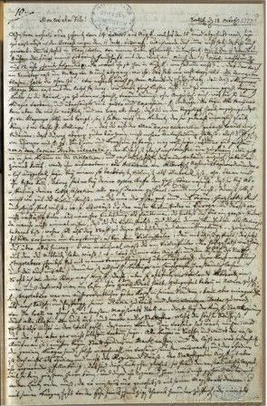 Letter to Wolfgang Amadeus Mozart from Father Leopold Mozart, October 18, 1777