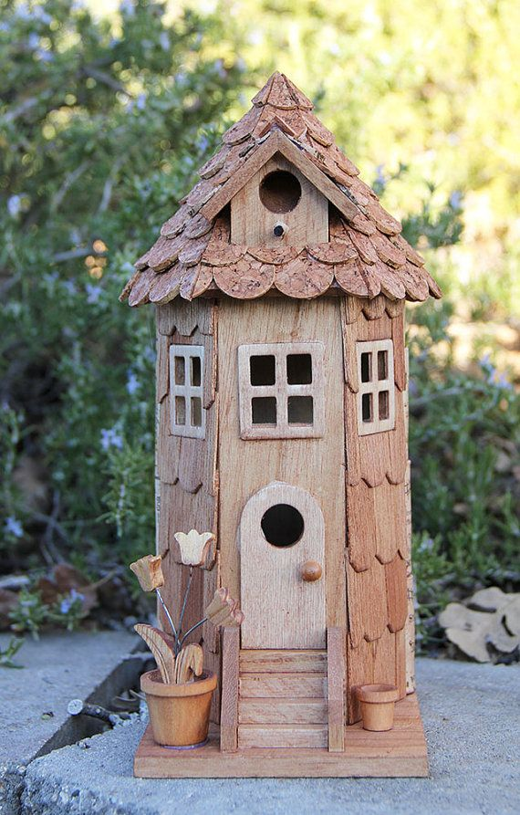 Tower Birdhouse wood and wine corks by CarefullyCorked on Etsy, $46.95