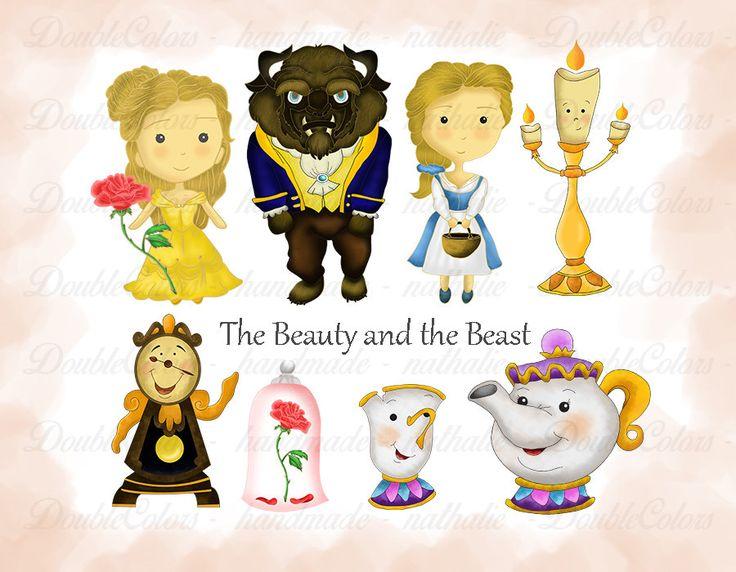 Beauty and the beast clipart, Digital Scrapbooking, printable, Instant Download. de DoubleColors en Etsy