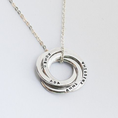 Russian Ring Necklace - This personalized Russian ring necklace is a timeless piece to cherish. You can choose to have three, four or five rings intertwined, each hand-stamped with a special name and/or date.