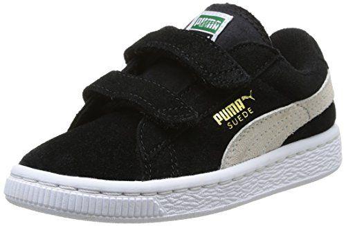 Puma Suede 2 straps Inf, Unisex-Kinder Sneakers, Schwarz (black-white 01), 35 EU (2.5 Kinder UK) - http://uhr.haus/puma-6/puma-suede-2-straps-inf-unisex-kinder-sneakers-01-2