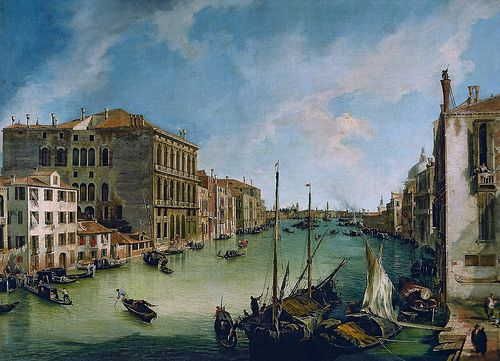 Canaletto - Grand Canal with San Vio in Venice, 1724 at the Thyssen-Bornemisza Museum Architectural Paintings exhibit at Fundacion Caja Madrid Spain