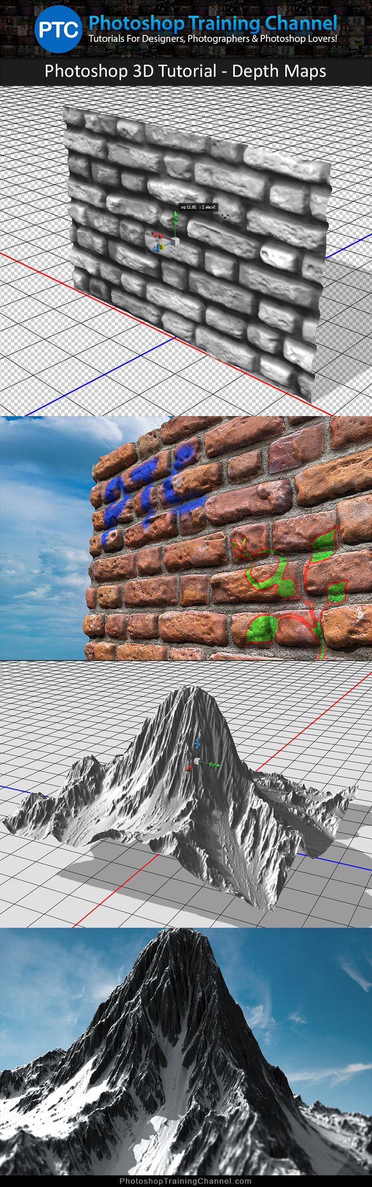 Photoshop 3D tutorial showing you how to work with Bump maps, Normal maps, and Depth maps.