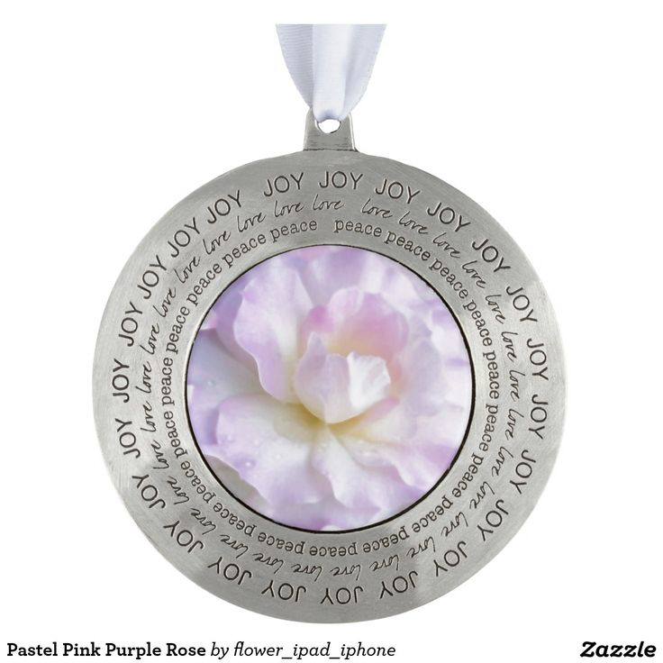 Pastel Pink Purple Rose Round Pewter Christmas Ornament