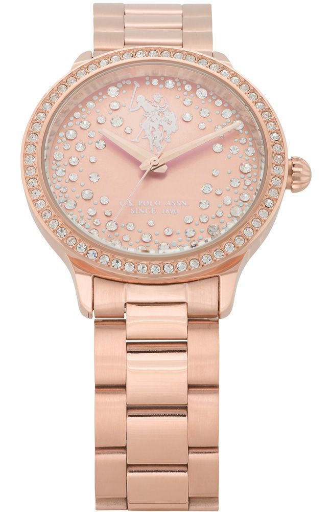 U.S. POLO Crystals Rose Gold Stainless Steel