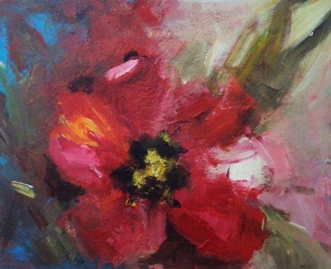 spring tulip, painting by artist Parastoo Ganjei
