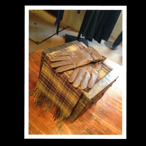 Barbour Leather Gloves $85 & Tartan Scarf $50 #barbour #gloves #scarf
