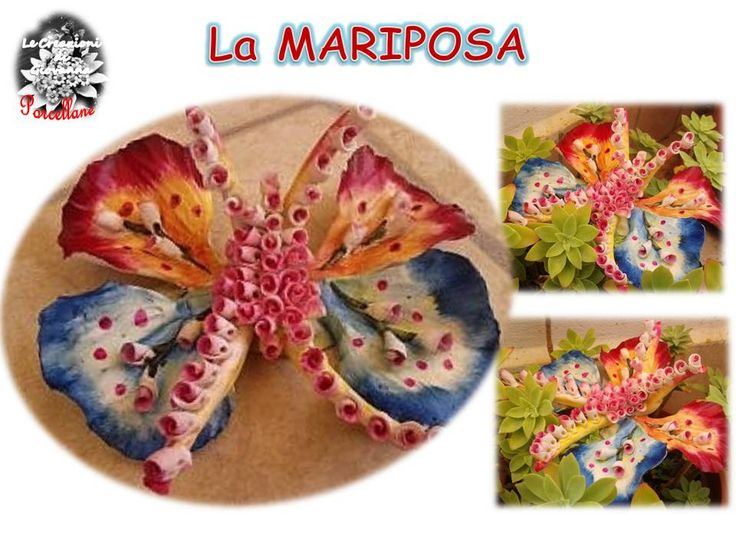 Butterfly entirely handmade with poppies petals and rosebuds. Porcelain.