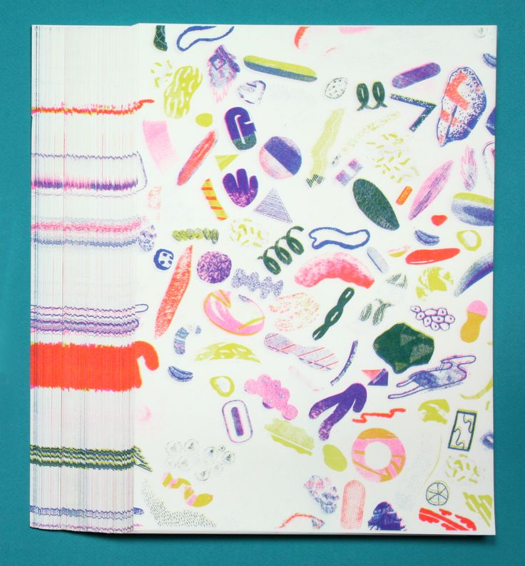 Our self printed Riso pattern made out of all the waste paper left in the club. Happy Summer!